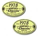 PAIR Distressed Aged Established 1978 Aged To Perfection Oval Design Vinyl Car Sticker 70x45mm Each
